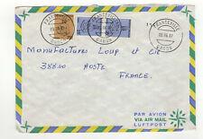 3 timbres sur lettre 1987 tampon Gabon Franceville /L177