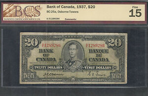 1937 OSBORNE $20.00 BC-25a BCS F-15 * RARE Signature KEY George VI Canada Twenty