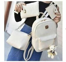 Korean Leather Backpack 4 in 1 Bag Set with Bear (White)