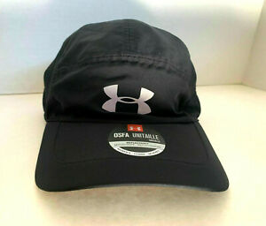 NEW  Under Armour Womens Perforated Run Cap-Black/Reflective Silver OSFA