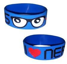 Cosmic I Love Nerds Glasses  3 Blue Funny Cute Wristband Rubber Wristcuff