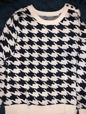 Gap Women's Houndstooth Sweater with Buttons Navy Blue White XL