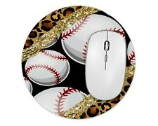 Leopard Baseball Round Mouse Pad Mice Mat For Laptop Notebook Computer PC Gaming