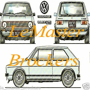 VW GOLF GTi série 1 - Poster affiche voiture rally auto yougtimer vintage