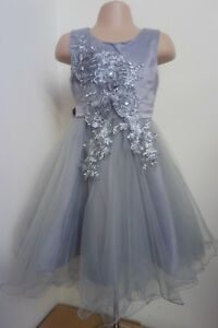 Grey Silver Flower Girl Bridesmaid Prom Wedding Pageant Dance Party Dress 2-12y