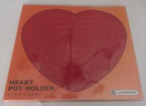 Le Creuset HEART SHAPE SILICONE TRIVET/Pot Holder Cerise/Cherry Red  NIP