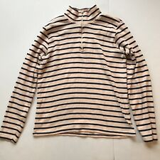 LL Bean Sweater French Sailor 1/4 Zip Pullover Striped Pink & Navy -Medium