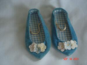 MATTEL Vtg. CHATTY CATHY BLUE VELVET / VELVETEEN SHOES w/ FLOWERS Japan
