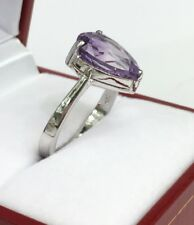 14k Solid White Gold One Stone/ Solitaire Ring Natural Amethyst . Sz 6.5