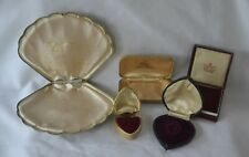 More details for 5 original  antique / vintage jewellery display boxes. heart / shell shaped etc