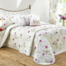 Dreams & Drapes CHARMAINE White Floral Easy Care Bedding & Pencil Pleat Curtains