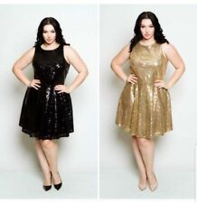 PLUS SIZE BLACK GOLD SLEEVELESS TIE BACK SEQUIN PRINCESS SKATER DRESS 1X 2X 3X