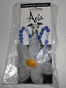 """ARIA BLUE/WHITE/YELLOW BEADS FLOWER PET NECKLACE DOG JEWELRY-NECK 8""""-12""""- NEW!"""