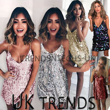 UK Women Sequin Plunge Halter V Neck Strappy Bodycon Ladies Mini Christmas Dress