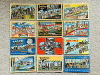 1930s-40s Lot of 12~Greetings From~Large Big Letter State and City Postcards