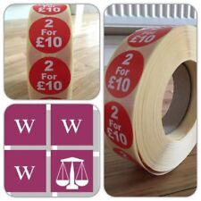 Promotional display point of sale price stickers 2 for £10