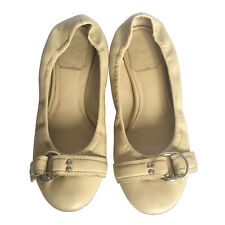 CHRISTIAN DIOR IVORY LEATHER BALLET FLATS