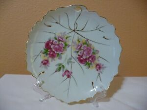 "Collectible Hand Painted Decorative 7"" Plate Pink Roses Gold Scalloped Rim"