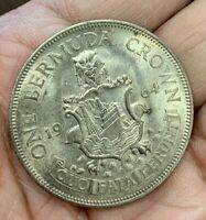 1964 Bermuda 1 Crown coin, Toning BU