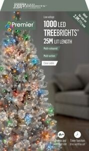 Premier 1000 LED TreeBrights Christmas Tree Lights Timer with Clear Cable MULTI