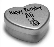 Happy Birthday Ali Mini Heart Tin Gift Present For Ali WIth Chocolates