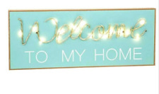 Duck Egg Blue Welcome To My Home Wood Wall Plaque Led Indoor Light up Sign