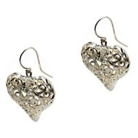 Vintage Sterling Silver 925 Filigree Heart Earrings