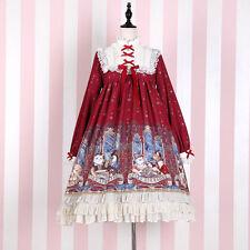 Sweet Lolita Kawaii Cartoon Cat Printing Gothic Long Sleeve Dress Princess