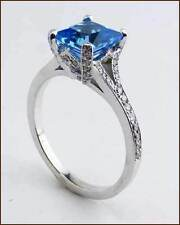 Richard Landi Platinum Swiss Blue Topaz and Diamond Designer Ring - NEW - $4,300