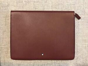 Montblanc Meisterstuck iPad/Tablet Leather Zip Portfolio Case Burgundy Msrp $490
