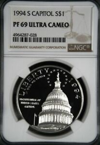 1994-S CAPITOL BICENTENNIAL SILVER PROOF S$1 NGC PF69 ULTRA CAMEO