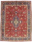 Vintage Floral Oriental Ardabil Rug, 10'x13', Red/Blue, Hand-Knotted Wool Pile