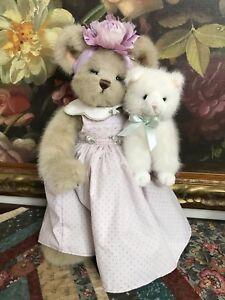Bearington Girl Bear with White Cat 18 inch Tush Tags Lavender Purple Dress