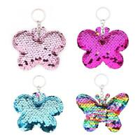 Butterfly Keychain Glitter Sequins Key Ring Women Car Backpack Pendant Gift TN2F