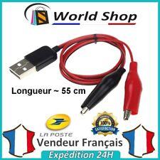 Câble USB Femelle Alligator Crocodile Clips Test Pince Croco Adaptateur 55cm