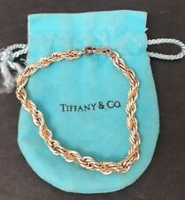 Vintage Tiffany & Co Sterling Silver 18k Yellow Gold Rope Bracelet 7""