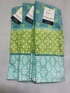 3pc Plush Bathroom or Kitchen Hand Towels  Medallion Pattern  Teal/ Green