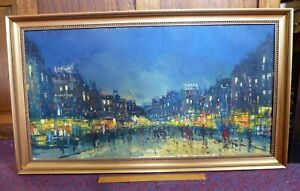 Large vintage old Oil Painting Expressionist City Night time 60s 1960 1970 Swiss