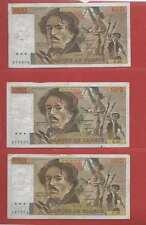 Lot de 3 x 100 FRANCS EUGENE  DELACROIX de 1980 ALPHABETS  P.37  F.38  Q.38