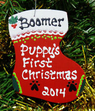 U CHOOSE NAME & YEAR Personalized PUPPY'S FIRST CHRISTMAS ORNAMENT DOG HOLIDAY