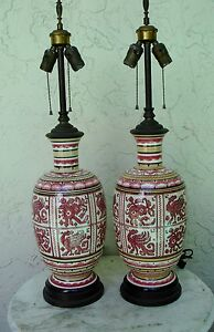 2 PINK TABLE LAMPS - MUTUAL SUNSET LAMP CO.- #3622 - CERAMIC