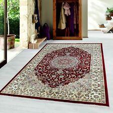 Orientteppich Kurzflor Teppich Baumwollrücken Klassisch Design mit Bordüre Rot