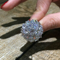 Luxury Huge White Sapphire Flower Ring 925 Silver Women Bride Wedding Jewelry