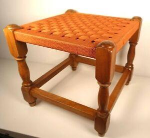 Vintage Wooden Wicker Woven Rattan Style Stool - Footstool Orange