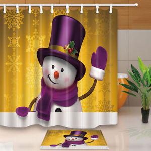 Snowman and Purple Bowler Hat Fabric Shower Curtain Warm Bathroom Mat 12 Hooks