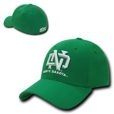 Green University of North Dakota UND Sioux Flex Baseball Fitted Fit Ball Cap Hat
