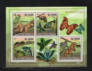 St. Thomas & Prince 2009 Butterflies Mini Sheet MNH Sc 2112
