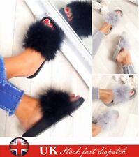 Lady Womens Fur Fluffy Sliders Sandals Flat Comfy Slides Slippers Satin Summer