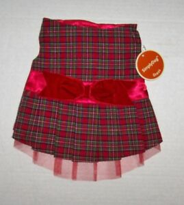 Red Plaid Christmas Holiday Dog Dress velvet bow Simply Dog Small NWT