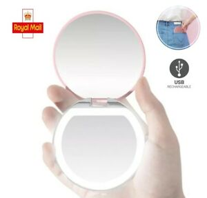 LED Makeup Mirror with LED Lights USB Rechargeable LED Ring Light Up Mirror UK
